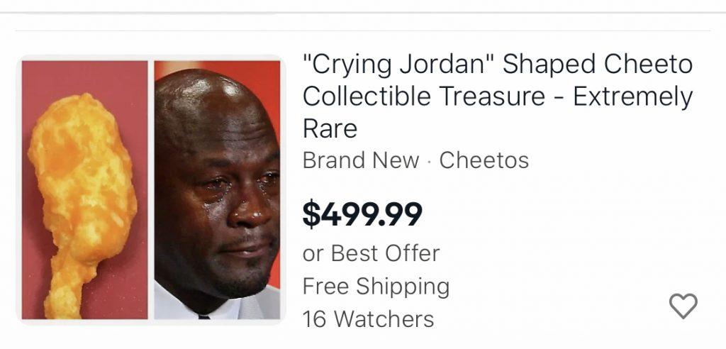 Crying Jordan cheetos