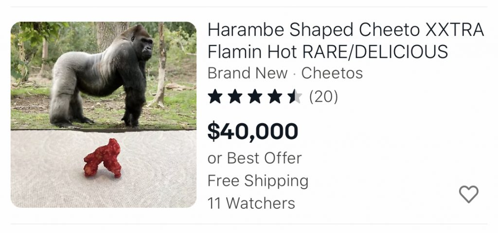 Harambe Shaped cheetos on ebay